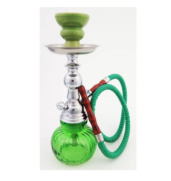 Medium Sized Green Glass Shisha Pipe with 1 Hose