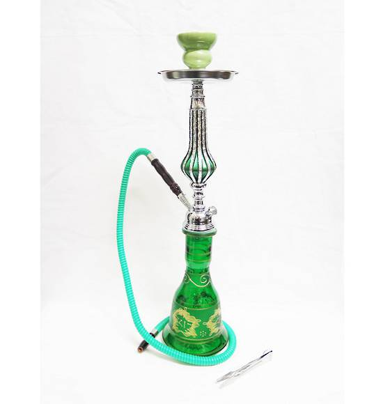 Ornate Green Hookah Shisha Pipe with 1 Hose