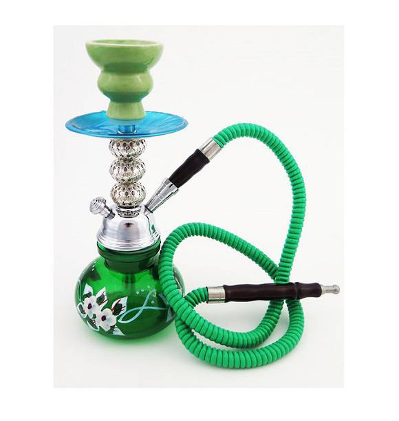 Small Green Flowers Shisha Pipe with 1 Hose