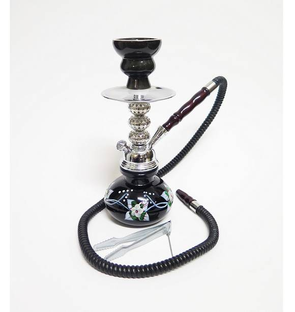 Small black Flowers Shisha Pipe with 1 Hose