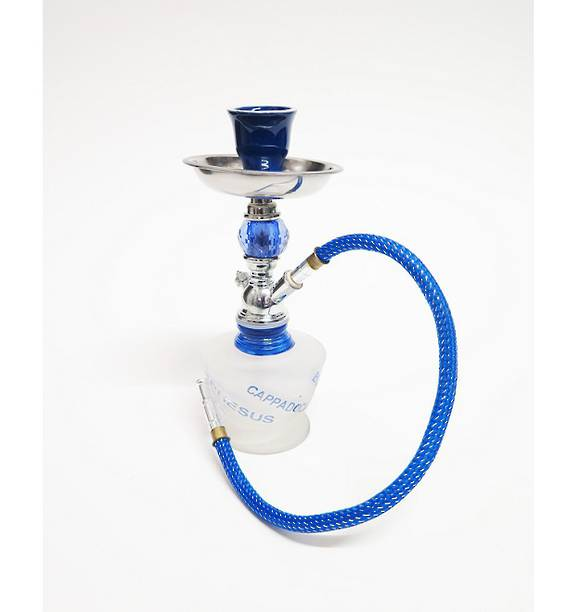 Small Blue Words Shisha Pipe with 1 Hose