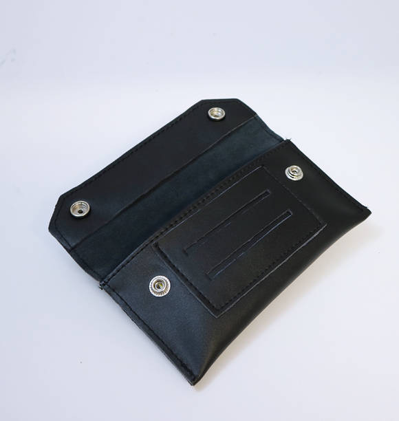 Black Smooth Leather Tobacco Pouch