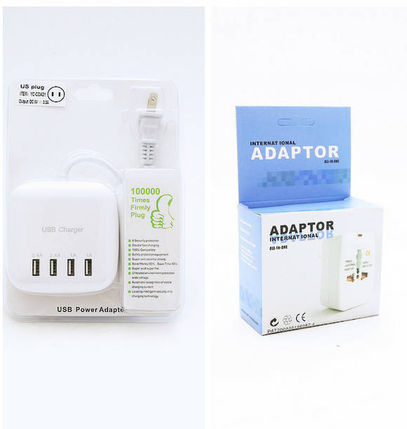 Universal USB Charger & 4 Ports Adapter Combo